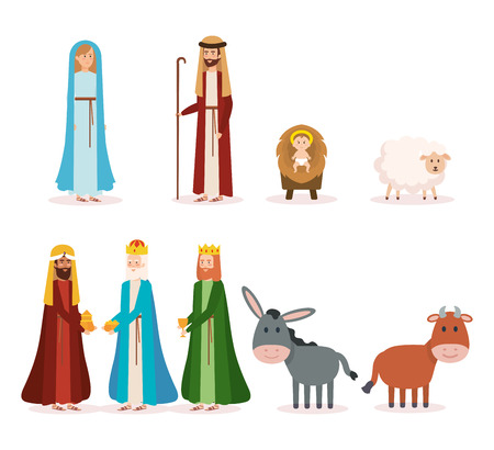 group of manger characters vector illustration design
