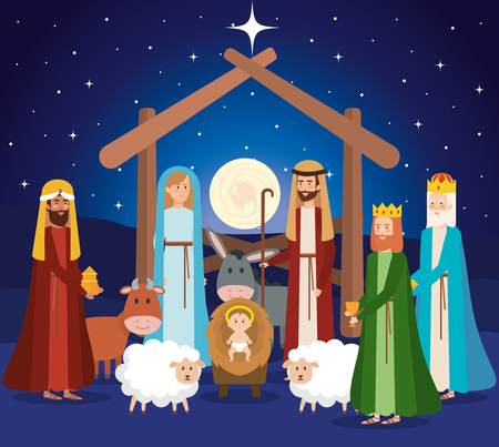 holy family manger characters vector illustration design 스톡 콘텐츠 - 111457948