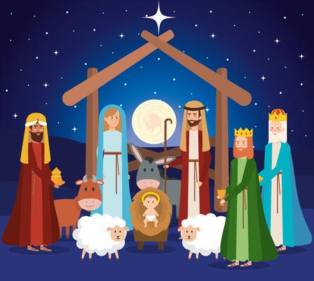 holy family manger characters vector illustration design