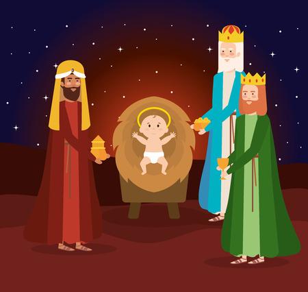 wise kings manger characters vector illustration design Illustration