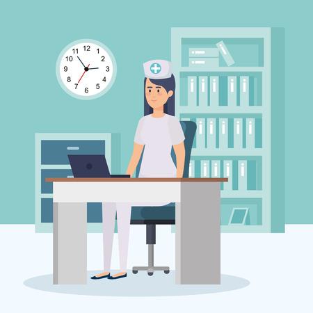 beautiful nurse in consulting room vector illustration design