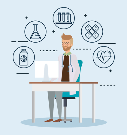 doctor in consulting room with set icons vector illustration design