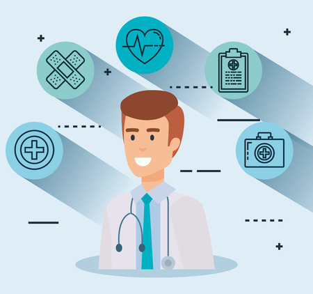 doctor with set icons vector illustration design
