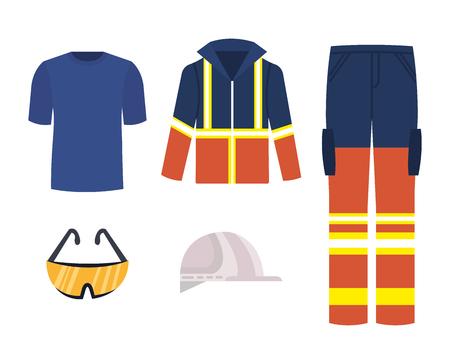 progettazione dell'illustrazione di vettore delle icone dell'attrezzatura di sicurezza industriale Vettoriali
