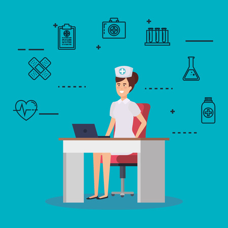 nurse in consulting room with set icons vector illustration design Ilustração