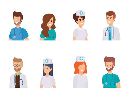 group of doctors with nurse vector illustration design Illustration