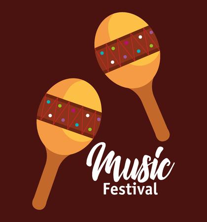 maracas musical instrument icon vector illustration design