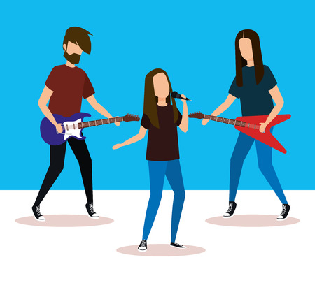 musical band playing instruments vector illustration design Banque d'images - 111436238