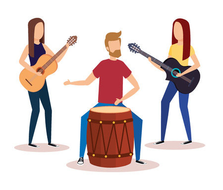 man playing bongo and girls playing guitars vector illustration design Illustration