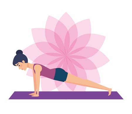 Girl doing yoga, Positive mind fitness and exercise theme Colorful design Vector illustration
