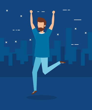 Boy jumping and city design, Happiness fun dance and freedom theme Vector illustration Ilustração