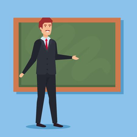 Teacher with blackboard, School education lesson and classroom theme Colorful design Vector illustration Ilustração