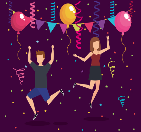 Party with people, Fun celebration birthday event and fest theme Colorful design Vector illustration Illustration