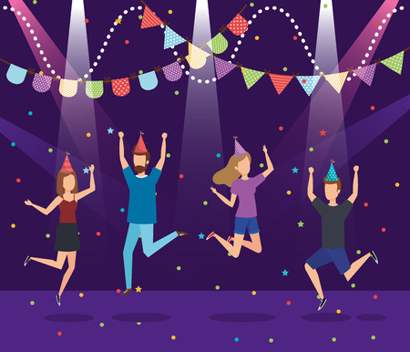 Party with young people, Fun celebration birthday event and fest theme Colorful design Vector illustration