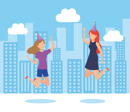 Girls jumping, Fun celebration birthday event and fest theme Colorful design Vector illustration