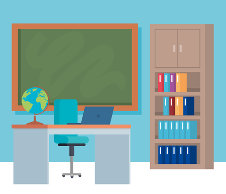 Furniture and objects, School education lesson and classroom theme Colorful design Vector illustration Illustration