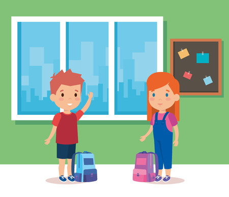 Kids inside classroom, School education lesson and classroom theme Colorful design Vector illustration 矢量图像