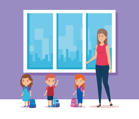 Woman teacher and kids, School education lesson and classroom theme Colorful design Vector illustration