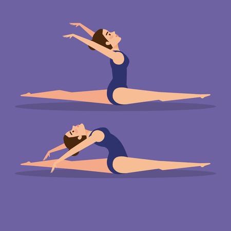 Girl doing ballet,  Dance sport health body and balance theme Colorful design Vector illustration