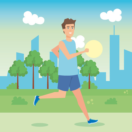 man running in the park character vector illustration design