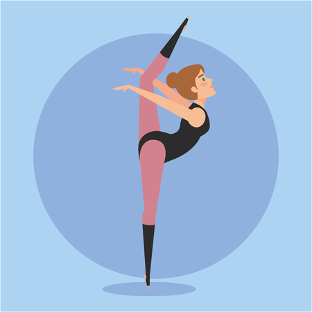 Girl doing ballet,  Dance sport health body and balance theme Colorful design Vector illustration