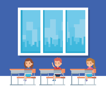 Kids inside classroom, School education lesson and classroom theme Colorful design Vector illustration Çizim
