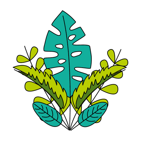 green leaves foliage palm tropical vector illustration Иллюстрация
