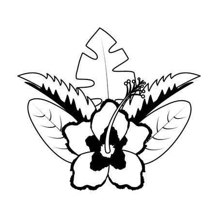 hibiscus flower leaves palm arrangement tropical vector illustration