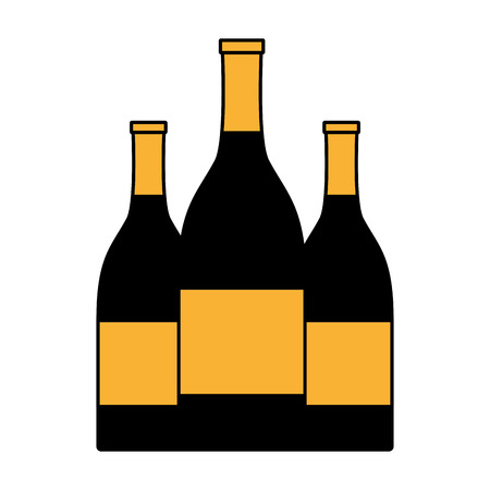 three bottles champagne on white background vector illustration