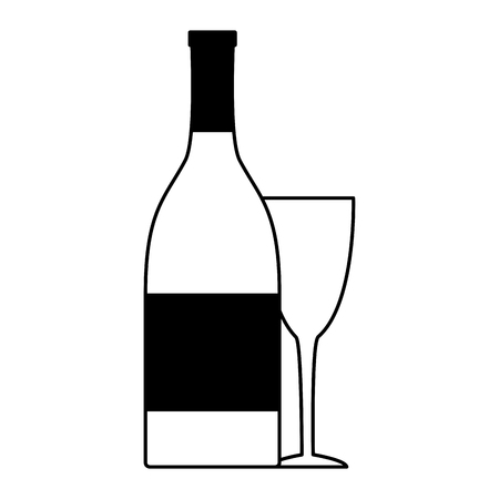 bottle champagne and cup on white background vector illustration