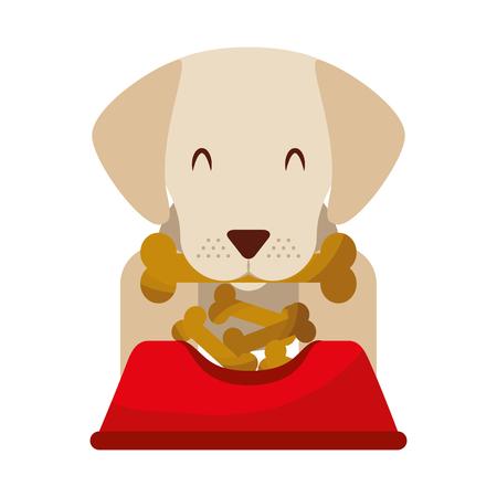 dog biting bone and bowl food vector illustration Ilustração
