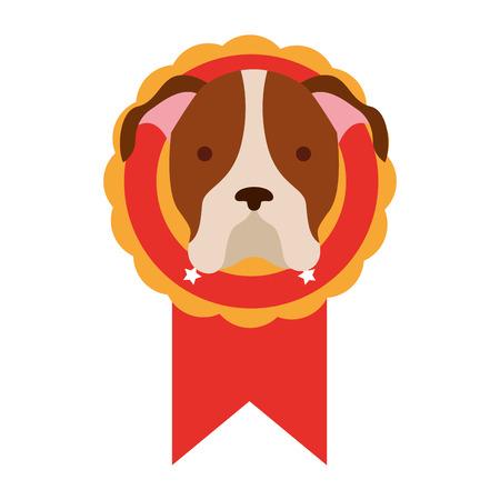 chien de tête en illustration vectorielle de prix rosette Vecteurs