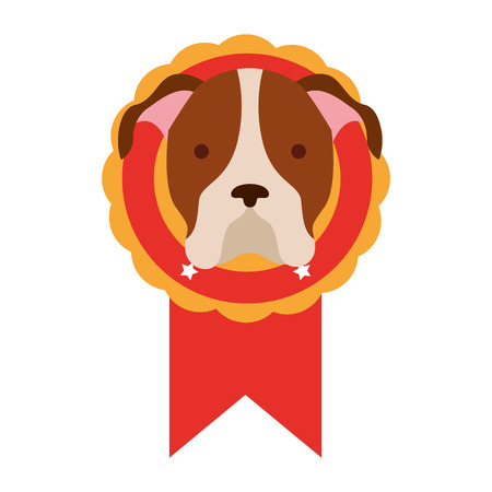 head dog in rosette award vector illustration