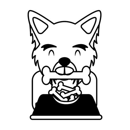 dog biting bone and bowl food vector illustration  イラスト・ベクター素材