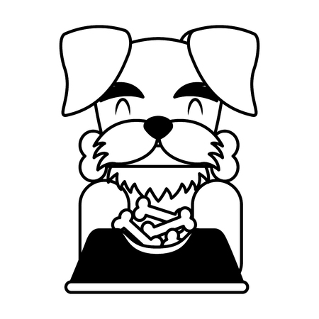 dog biting bone and bowl food vector illustration Illustration