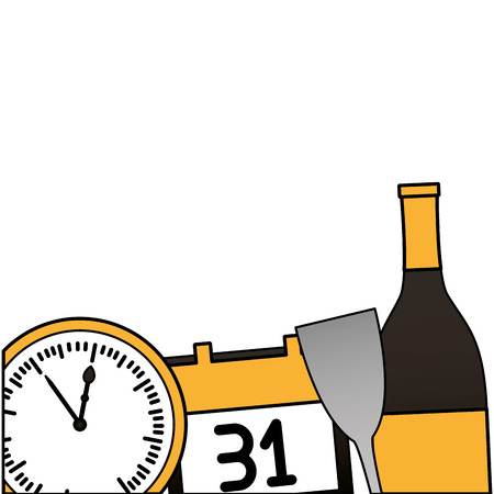 clock champagne calendar glass cup happy new year vector illustration