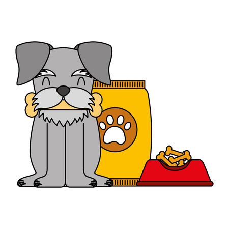 domestic dog with bone food bowl and package vector illustration  イラスト・ベクター素材