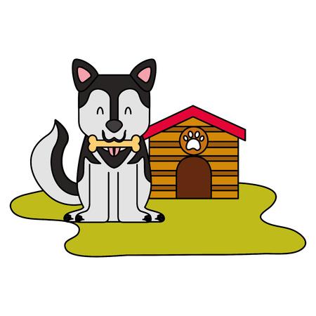 domestic dog with house and bone vector illustration Ilustracja