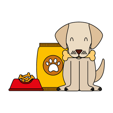 domestic dog with bone food bowl and package vector illustration Ilustrace