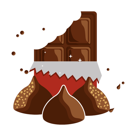 candy bar chocolate sweet chips vector illustration Иллюстрация