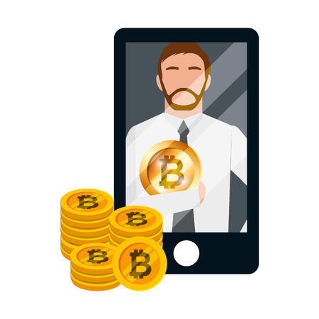 businessman mobile bitcoin cryptocurrency fintech vector illustration