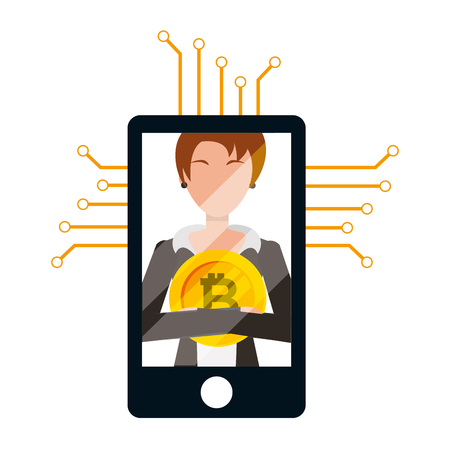 businesswoman and mobile bitcoin cryptocurrency fintech vector illustration