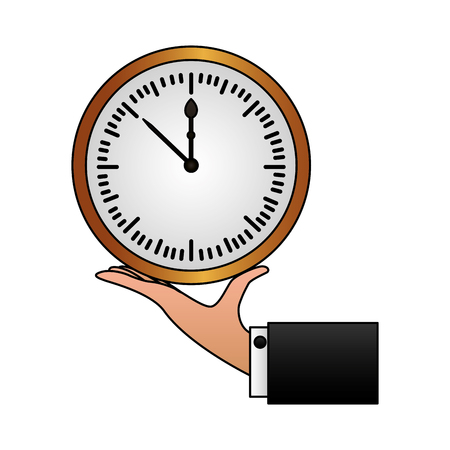 hand holding round clock time vector illustration