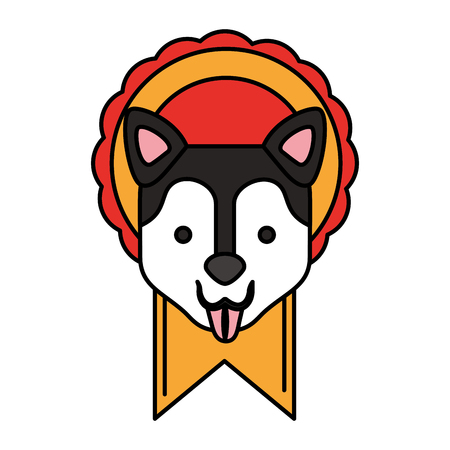 head dog in rosette award vector illustration 写真素材 - 111841854