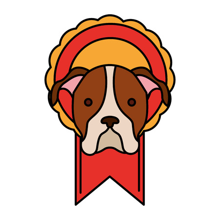head dog in rosette award vector illustration
