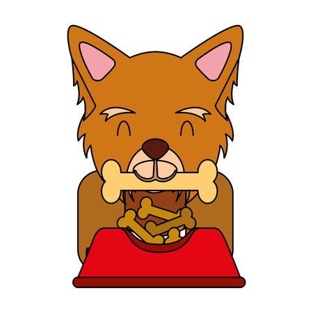 dog biting bone and bowl food vector illustration Illustration