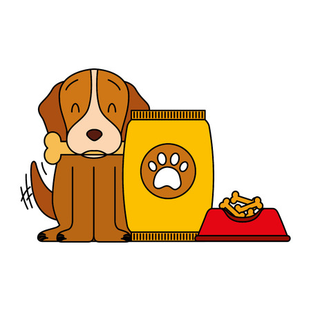 domestic dog with bone food bowl and package vector illustration Illusztráció