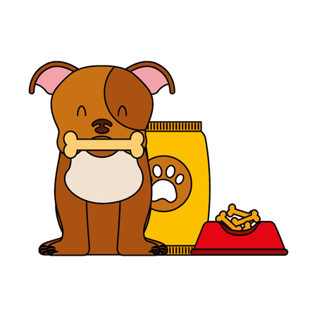 domestic dog with bone food bowl and package vector illustration Ilustração