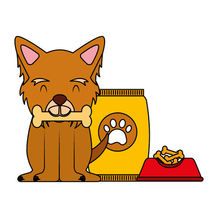 domestic dog with bone food bowl and package vector illustration Illustration