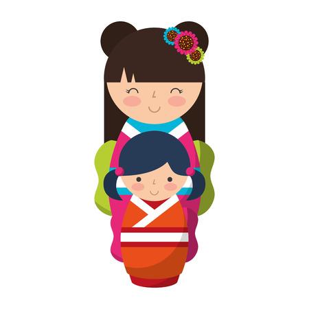 cute kokeshi dolls japanese traditional vector illustration Illusztráció